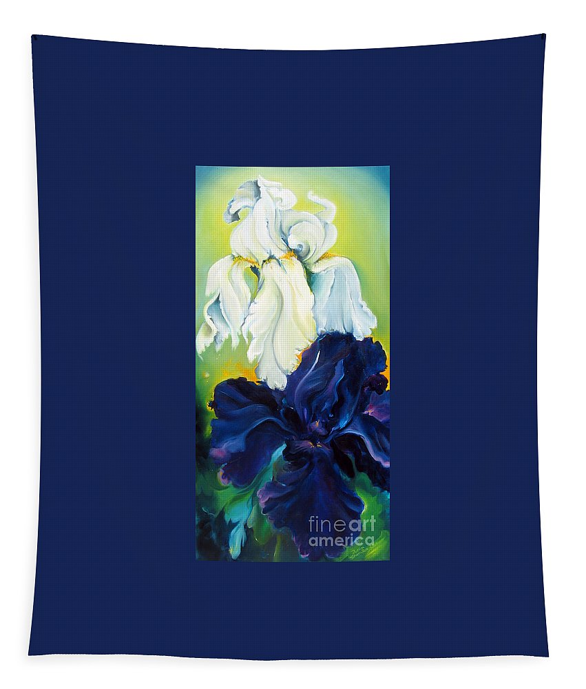 Iris Tapestry featuring the painting Purple And White by Bettina Star-Rose