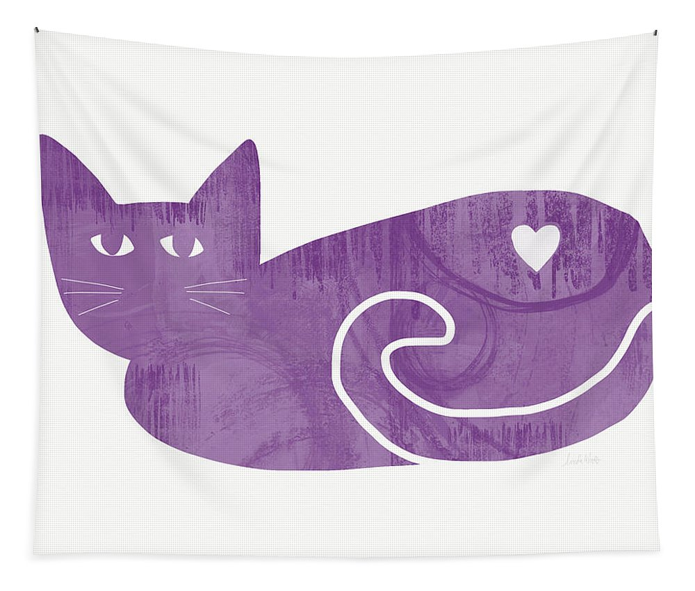 Cat Tapestry featuring the painting Purple Cat- Art By Linda Woods by Linda Woods