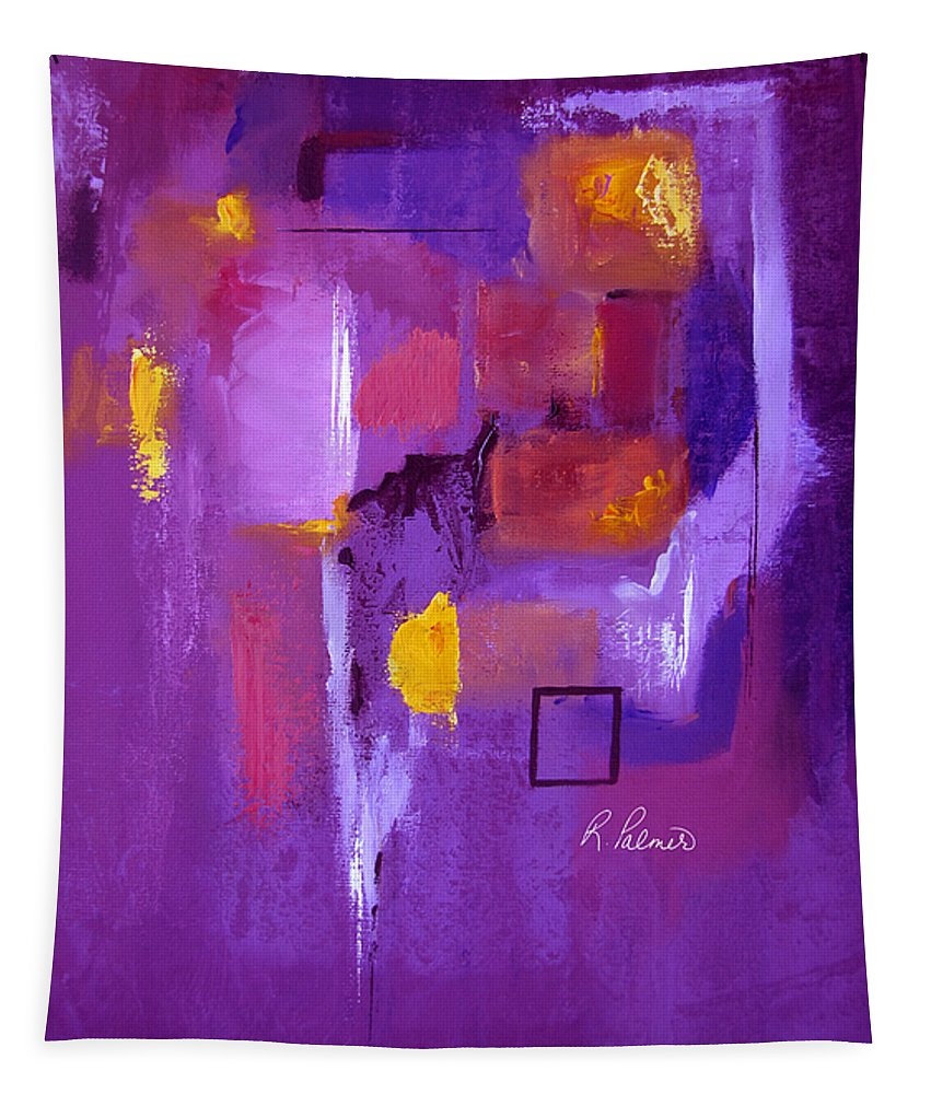 Purple Abstract Tapestry featuring the painting Purple Enclosure by Ruth Palmer