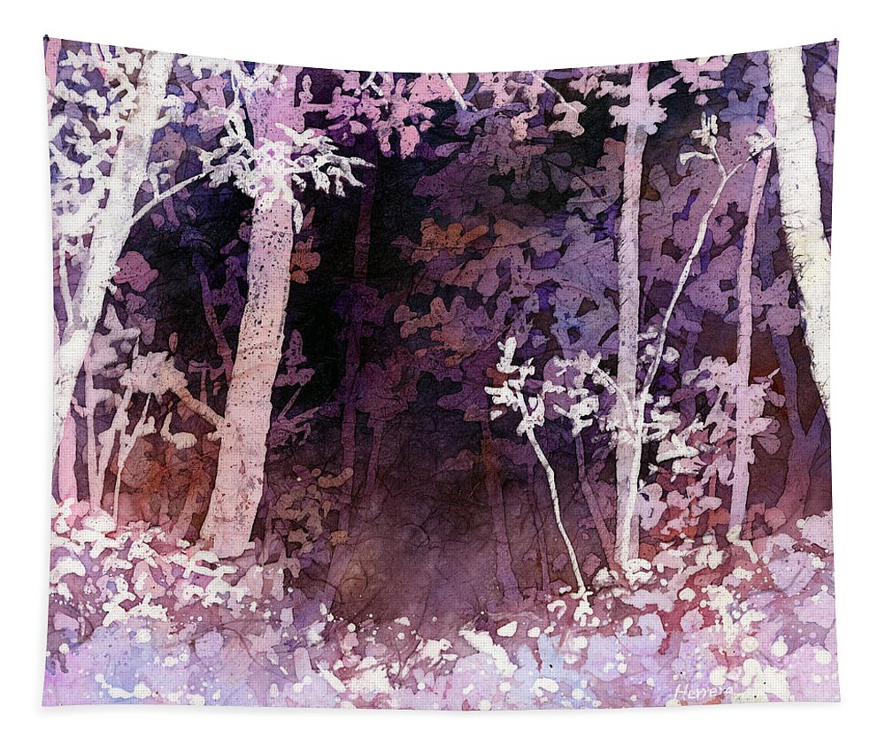 Purple Tapestry featuring the painting Purple Forest by Hailey E Herrera