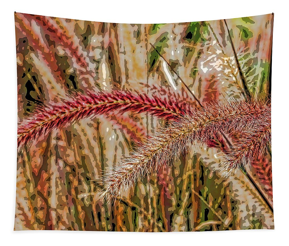 Fountain Grass Tapestry featuring the photograph Purple Fountain Grass Abstract By H H Photography Of Florida by HH Photography of Florida
