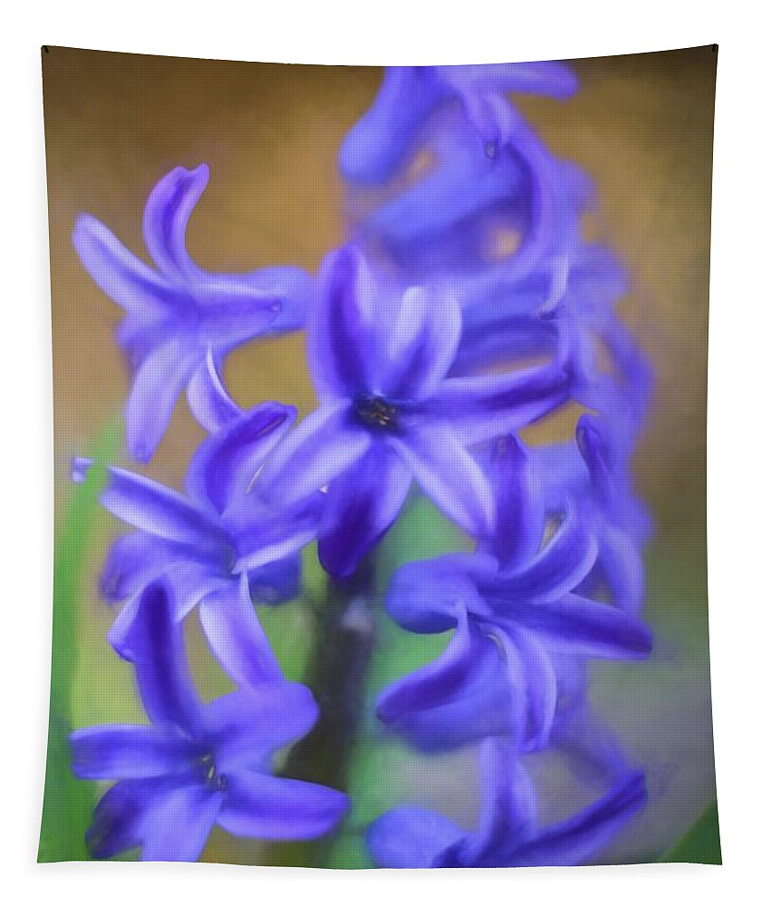 Terry Deluco Tapestry featuring the photograph Purple Hyacinths Digital Art by Terry DeLuco