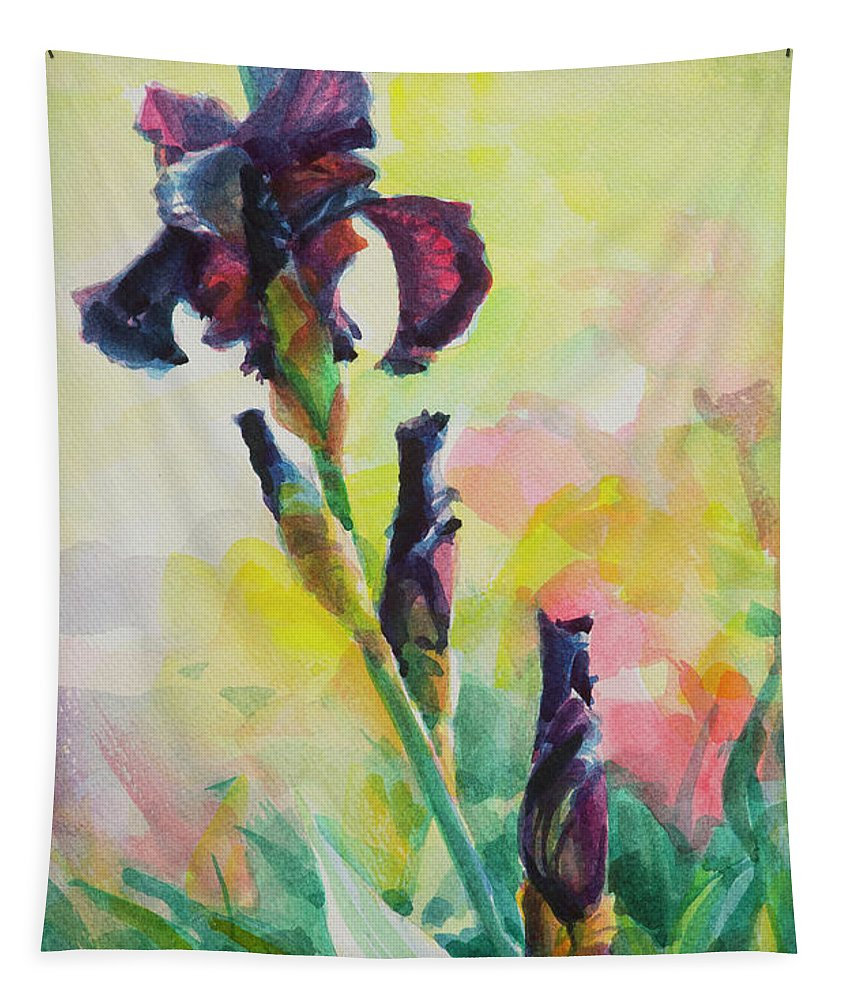Flower Tapestry featuring the painting Purple Iris by Steve Henderson