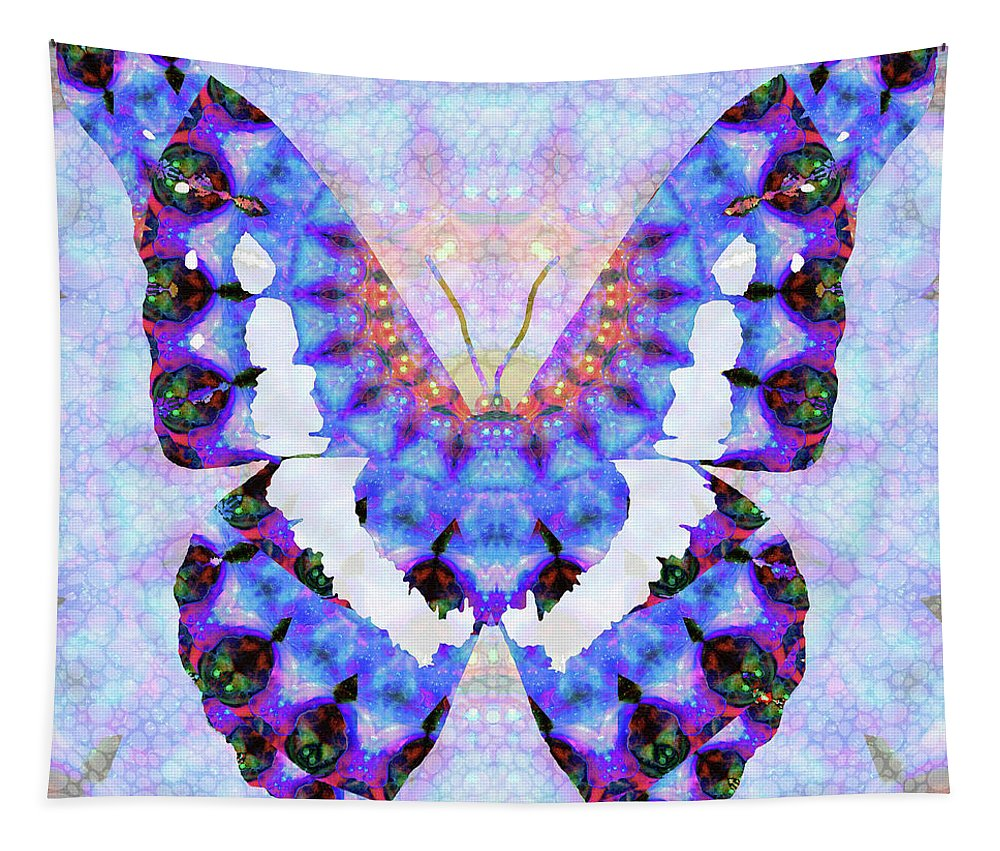 Butterfly Tapestry featuring the painting Purple Mandala Butterfly Art By Sharon Cummings by Sharon Cummings