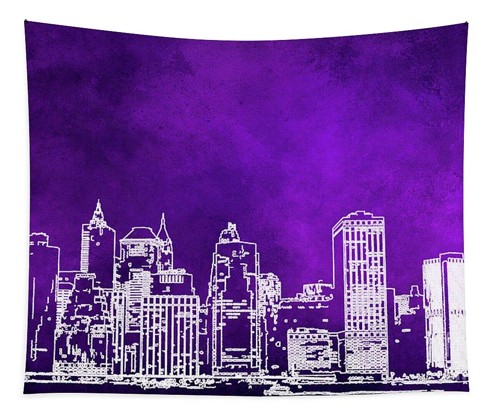 Manhattan Tapestry featuring the digital art Purple Manhattan by Elisabeth Lucas