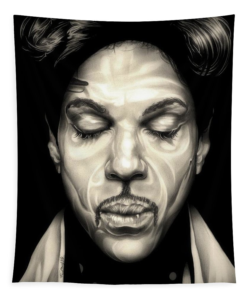 Prince Tapestry featuring the drawing Purple Reign by Fred Larucci