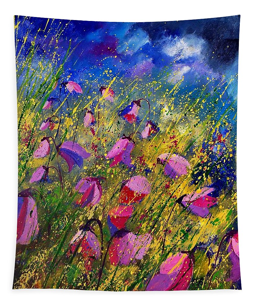 Poppies Tapestry featuring the painting Purple Wild Flowers by Pol Ledent