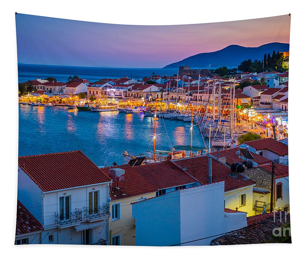 Aegean Sea Tapestry featuring the photograph Pythagoreio Evening by Inge Johnsson