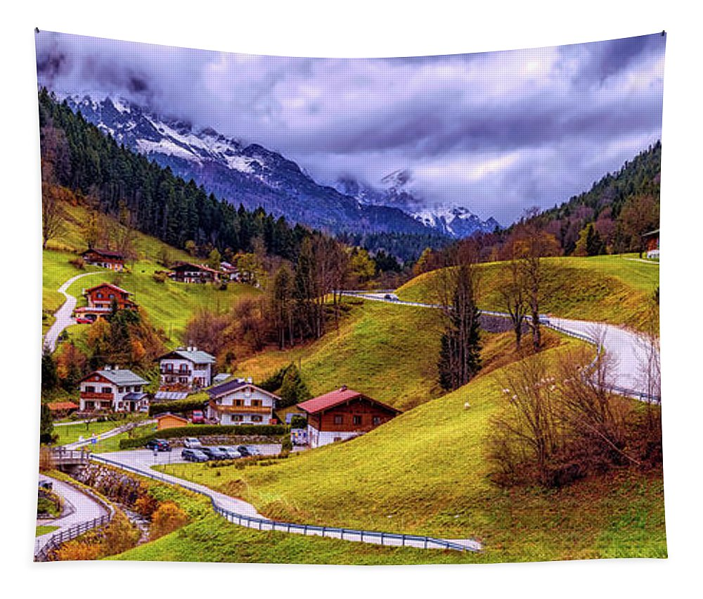 Panorama Tapestry featuring the photograph Quaint Bavarian Village by Pixabay