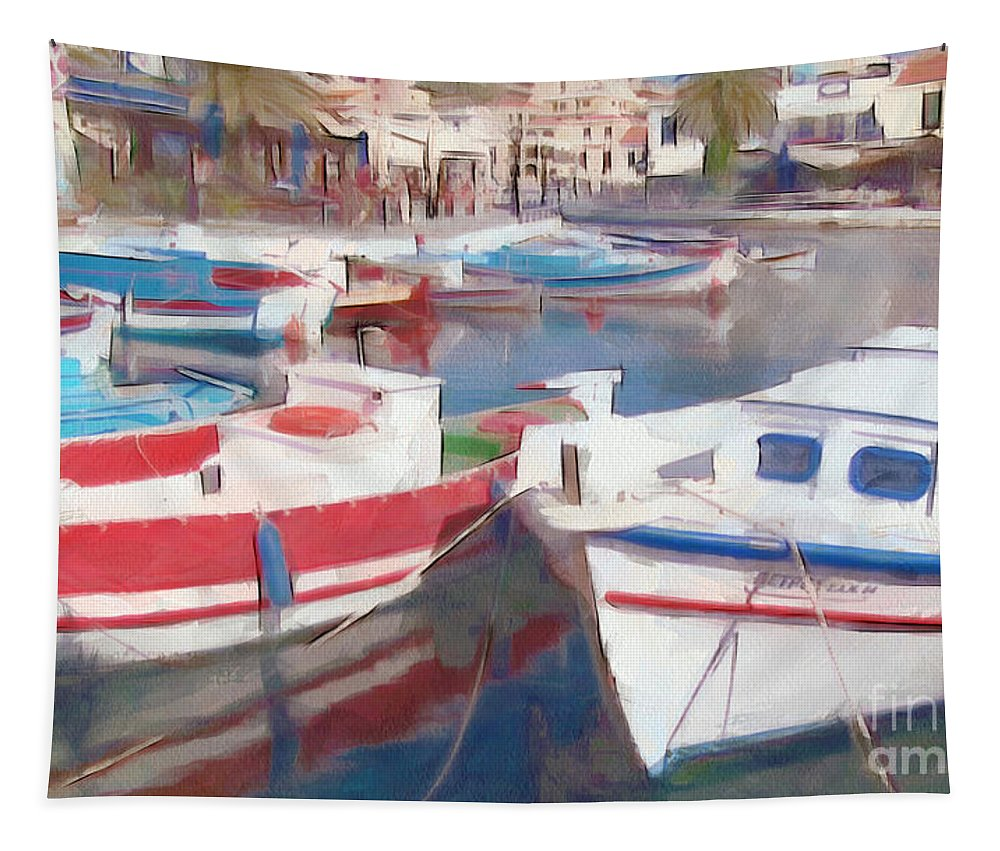 Waterfront Tapestry featuring the photograph Quay On The Island Of Crete by Sergey Lukashin