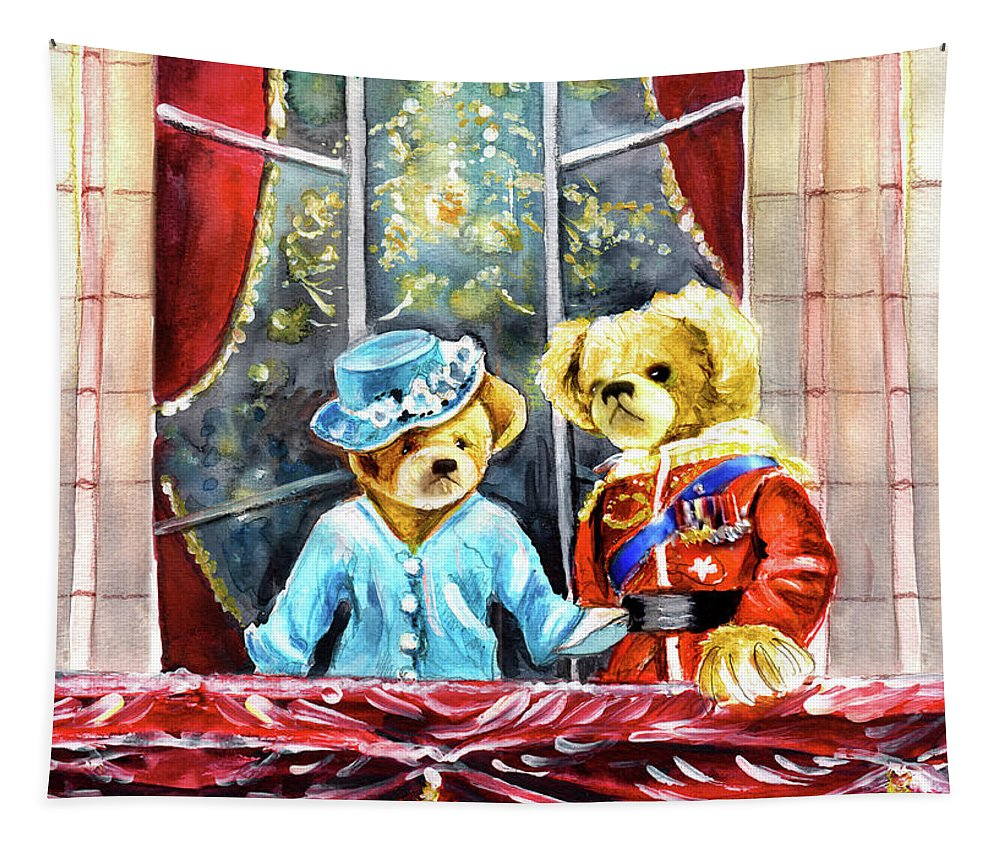 Travel Tapestry featuring the painting Queen Elizabeth And Prince Philip At Newby Hall by Miki De Goodaboom