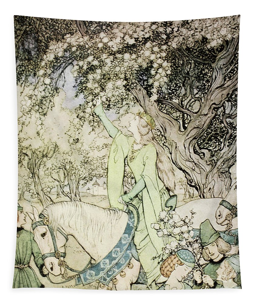 Rackham Tapestry featuring the painting Queen Guinevere by Arthur Rackham
