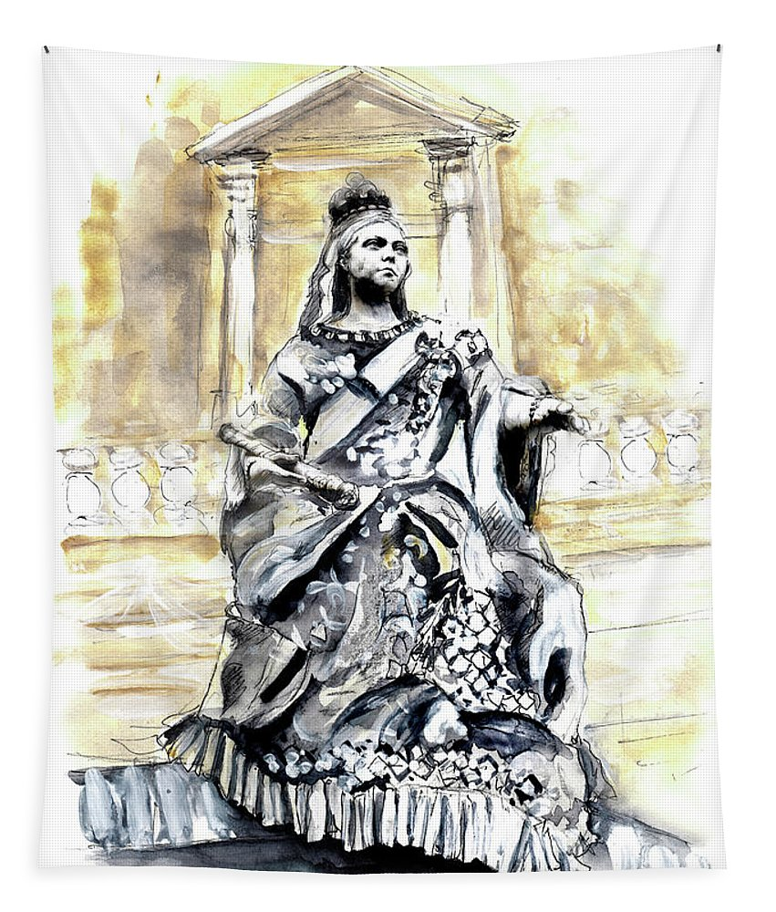 Travel Tapestry featuring the painting Queen Victoria In Valletta by Miki De Goodaboom