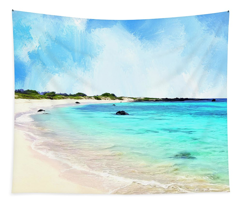 Makalawena Tapestry featuring the painting Quiet Shore Near Makalawena by Dominic Piperata