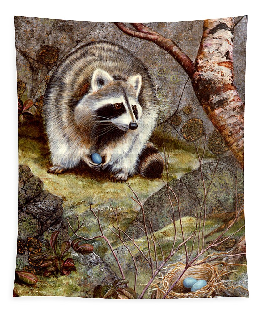Raccoon Found Treasure Tapestry featuring the painting Raccoon Found Treasure by Frank Wilson