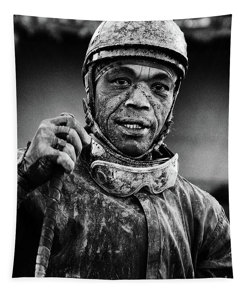 Jockey Tapestry featuring the photograph Racetrack Heroes 5 by Bob Christopher