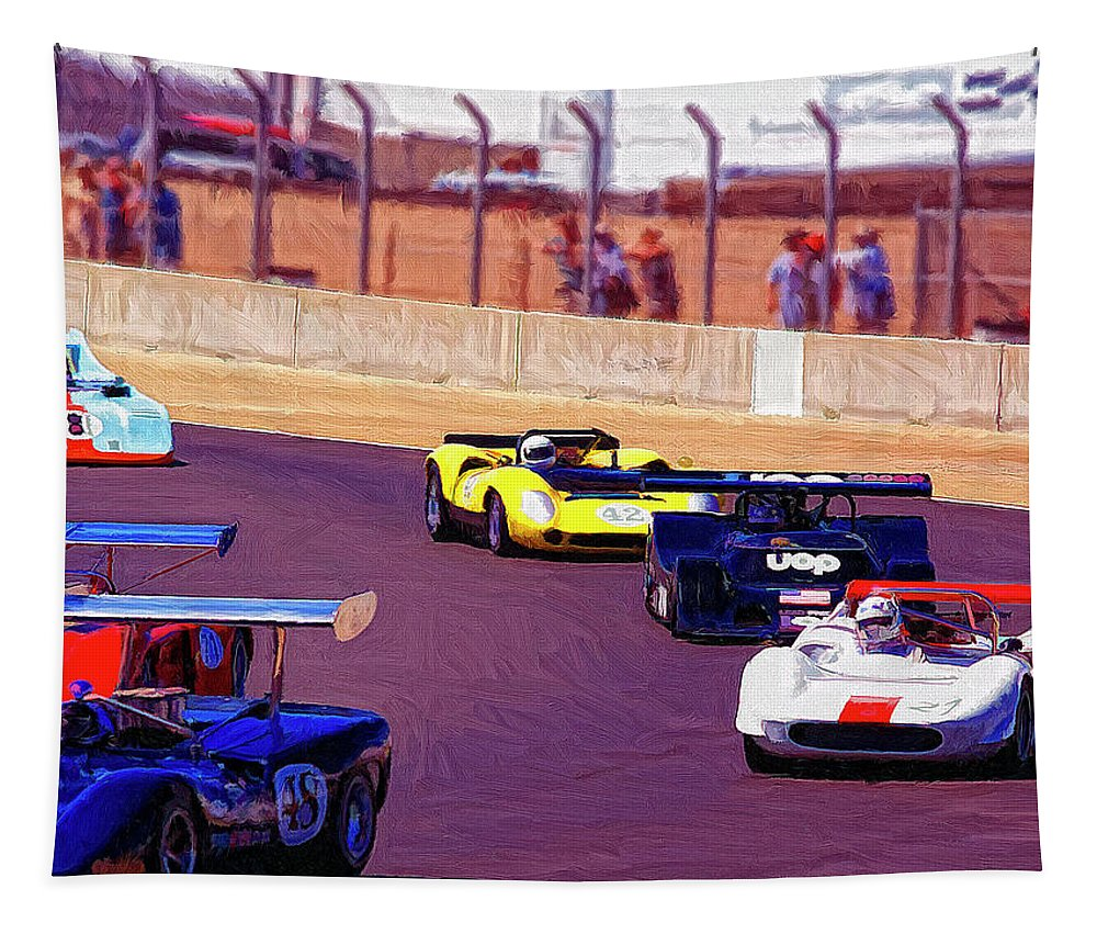 Racing At Laguna Seca Tapestry featuring the painting Racing At Laguna Seca by Dominic Piperata
