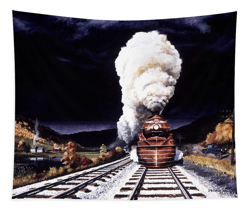 Train Tapestry featuring the painting Racing The Storm by David Mittner