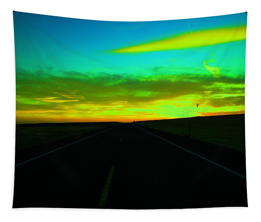 Sun. Sunset Tapestry featuring the photograph Racing The Sunset by Jeff Swan