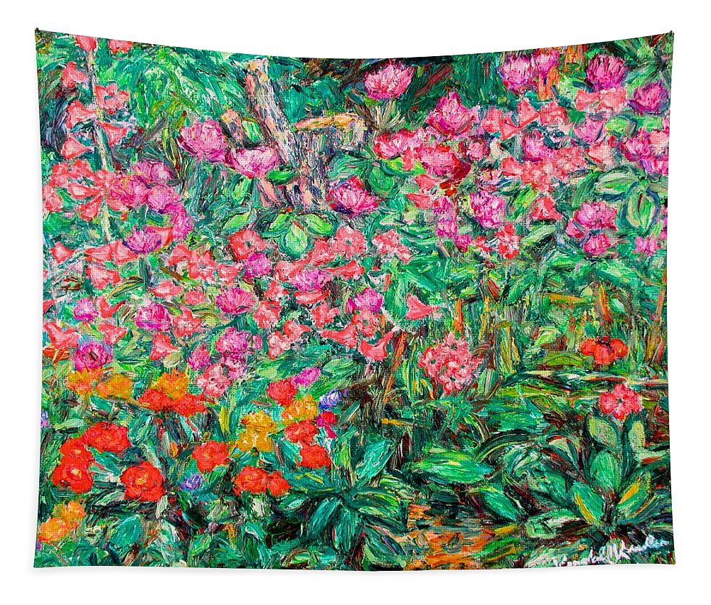 Kendall Kessler Tapestry featuring the painting Radford Flower Garden by Kendall Kessler