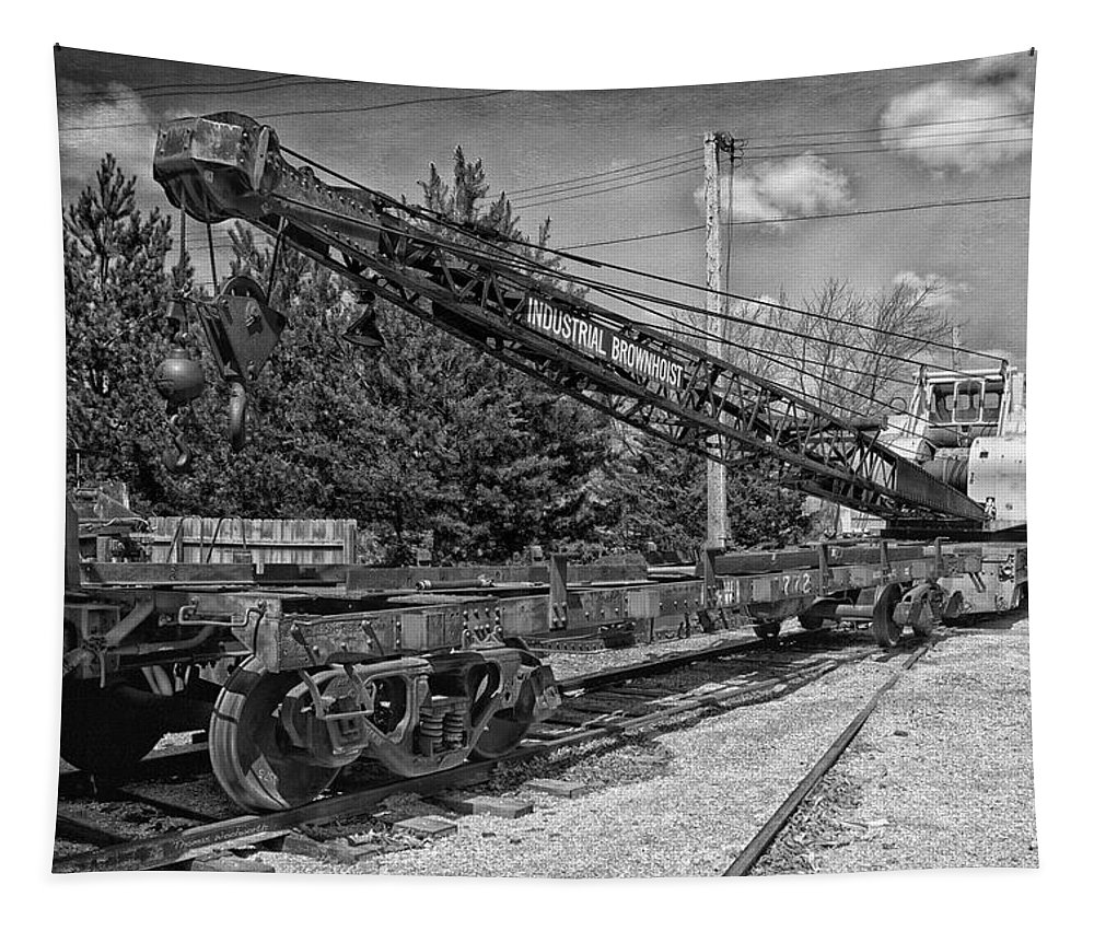 Passenger Tapestry featuring the mixed media Rail Crane Black And White by Thomas Woolworth