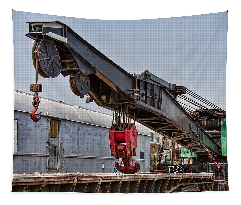 Railroad Tapestry featuring the photograph Railroad Crane by Nick Gray