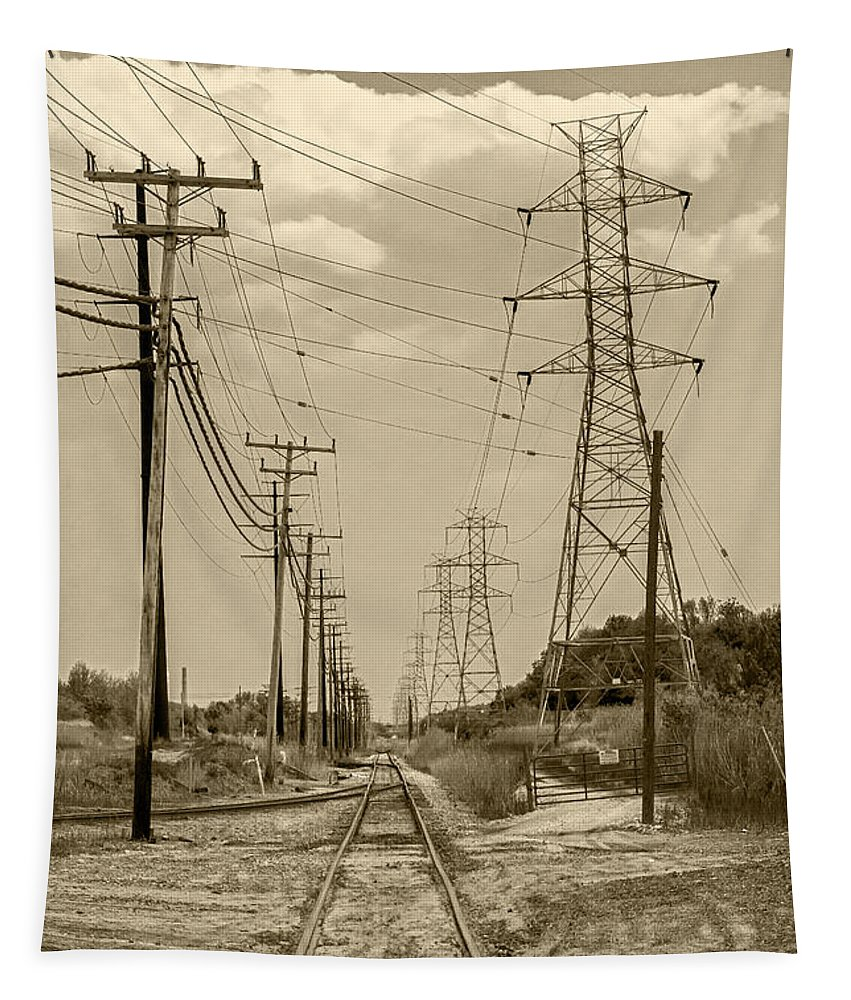 2d Tapestry featuring the photograph Rails And Wires by Brian Wallace