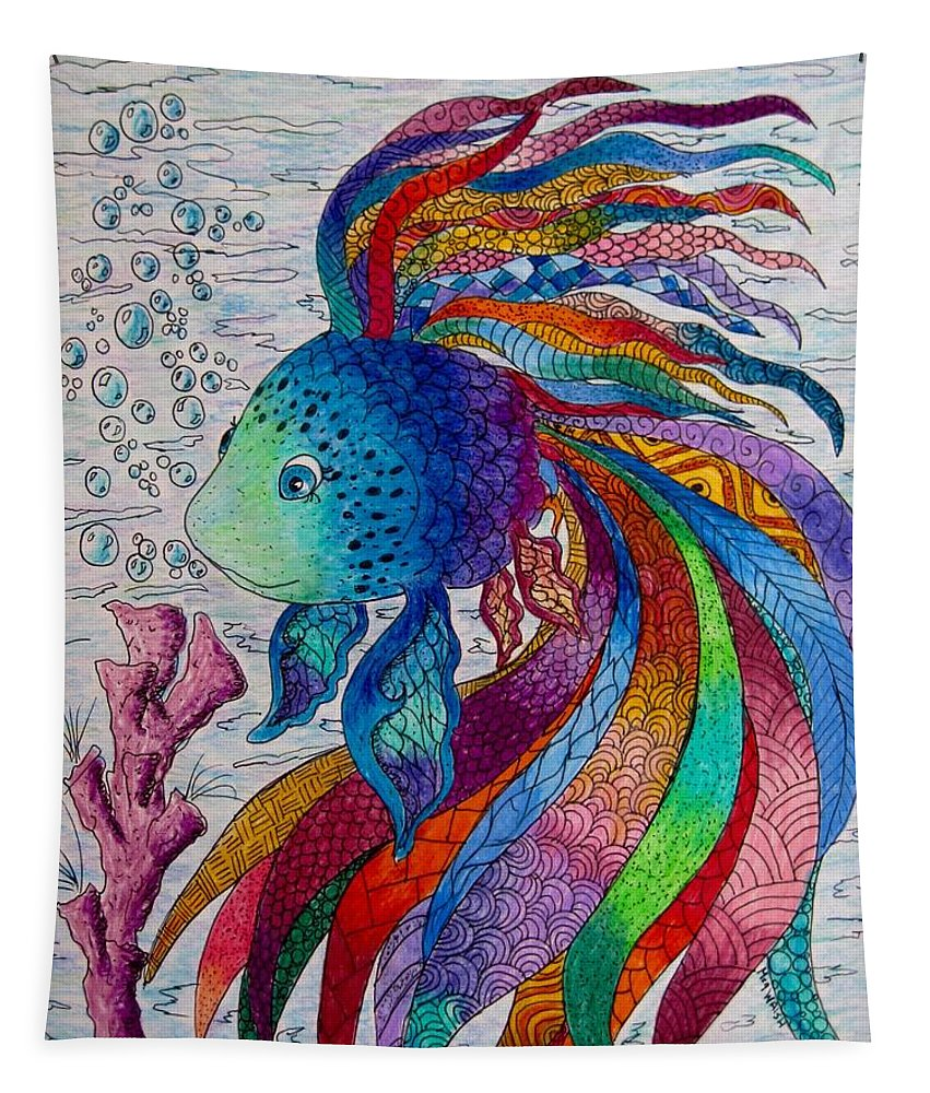 Children's Art Tapestry featuring the drawing Rainbow Fish by Megan Walsh