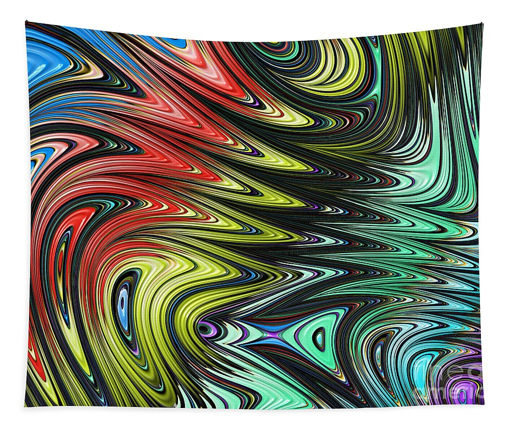 Rainbow Abstract Tapestry featuring the digital art Rainbow In Abstract 05 by John Edwards