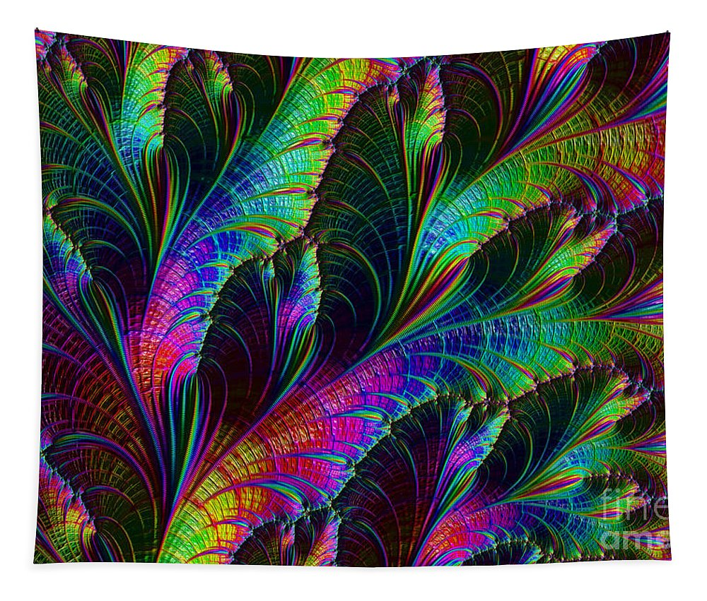 Fractal Tapestry featuring the digital art Rainbow Leaves by Steve Purnell