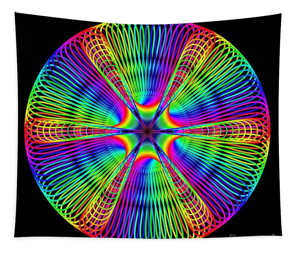 Abstract Tapestry featuring the digital art Rainbow Mandala by Marv Vandehey