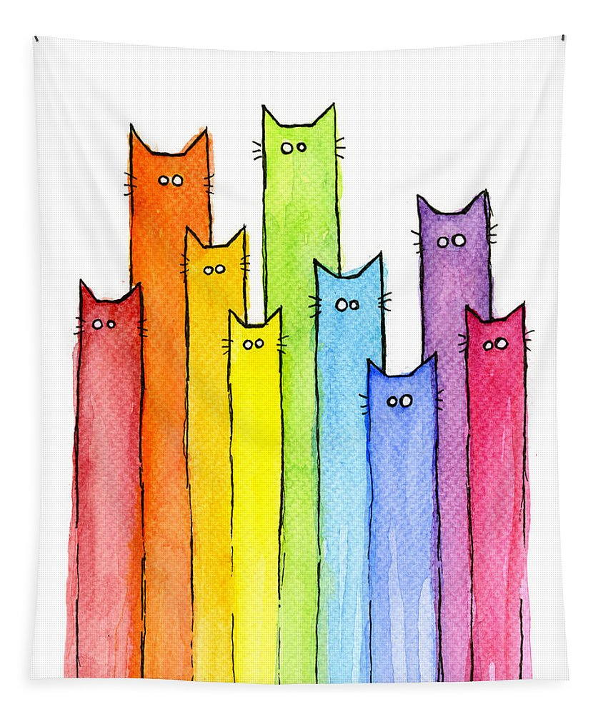 Watercolor Tapestry featuring the painting Rainbow of Cats by Olga Shvartsur
