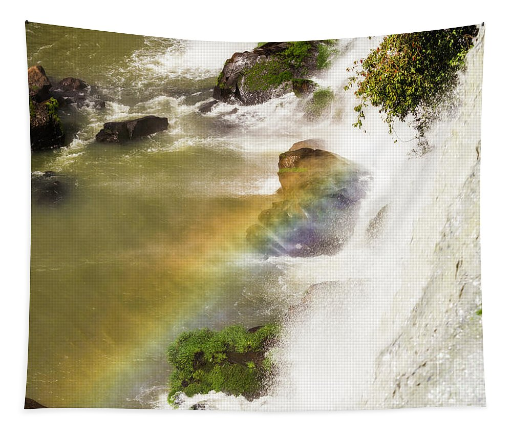 Nature Tapestry featuring the photograph Rainbow On The Falls by Mirko Chianucci