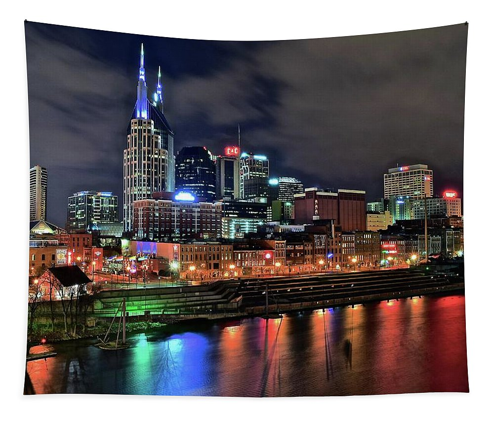 Nashville Tapestry featuring the photograph Rainbow On The River by Frozen in Time Fine Art Photography