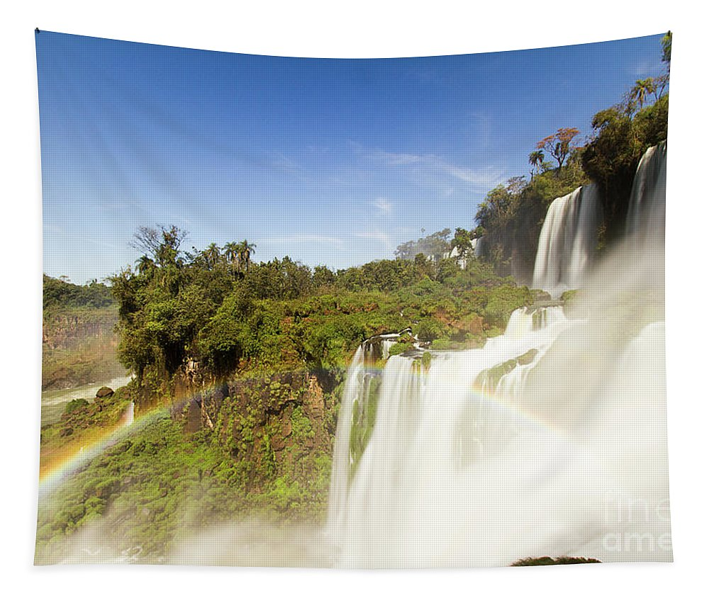 Nature Tapestry featuring the photograph Rainbow Over The Waterfall by Mirko Chianucci