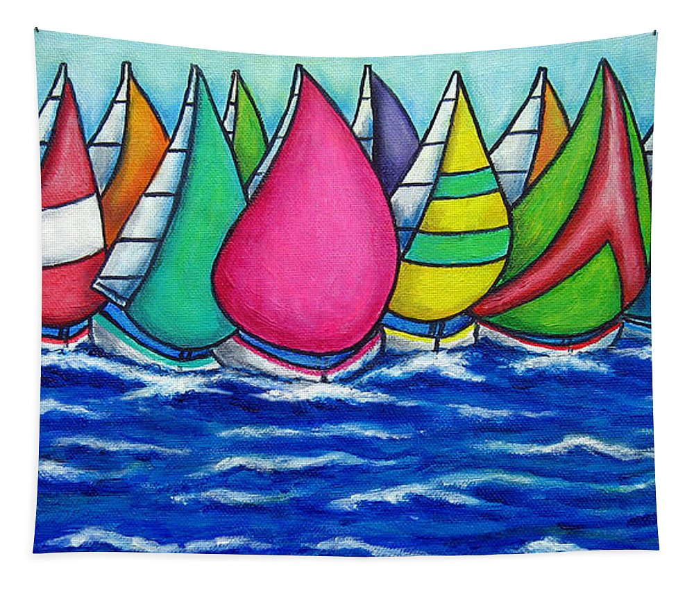 Boats Tapestry featuring the painting Rainbow Regatta by Lisa Lorenz