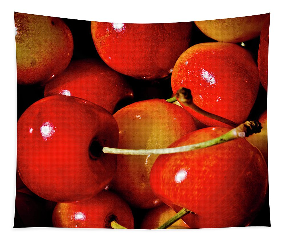 Cherry Tapestry featuring the photograph Rainier Cherries by David Patterson