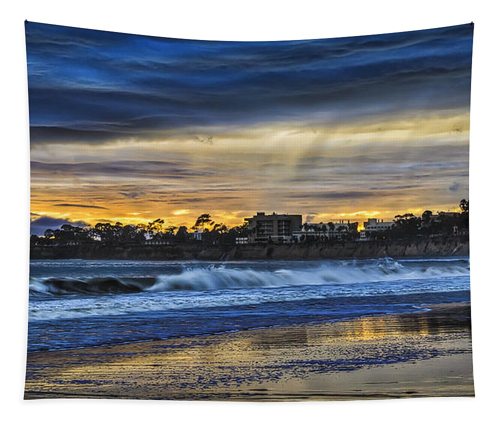 Rainy Beach Tapestry featuring the photograph Rainy Beach by Mitch Shindelbower