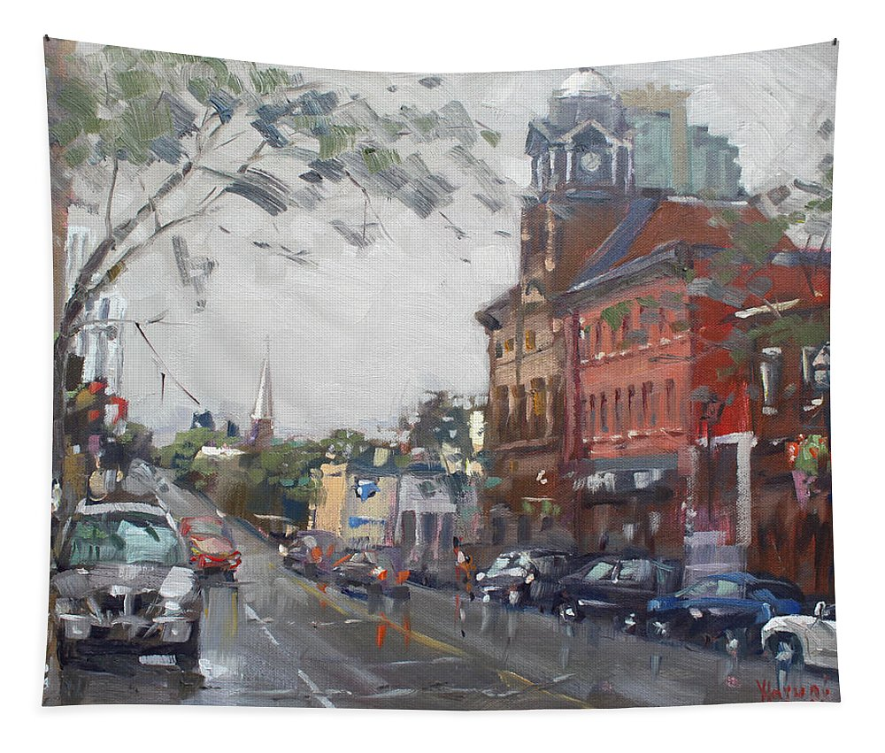 Rainy Day Tapestry featuring the painting Rainy Day In Downtown Brampton On by Ylli Haruni
