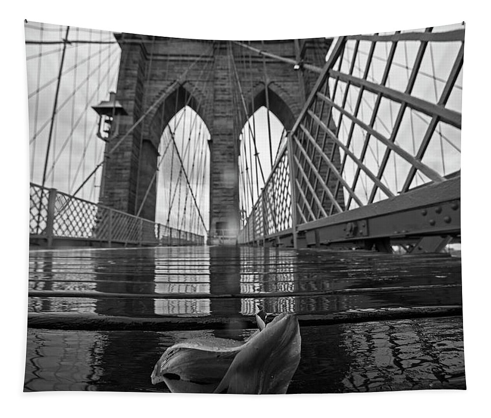 Brooklyn Tapestry featuring the photograph Rainy Day On The Brooklyn Bridge Brooklyn New York Tulip Petals Black And White by Toby McGuire
