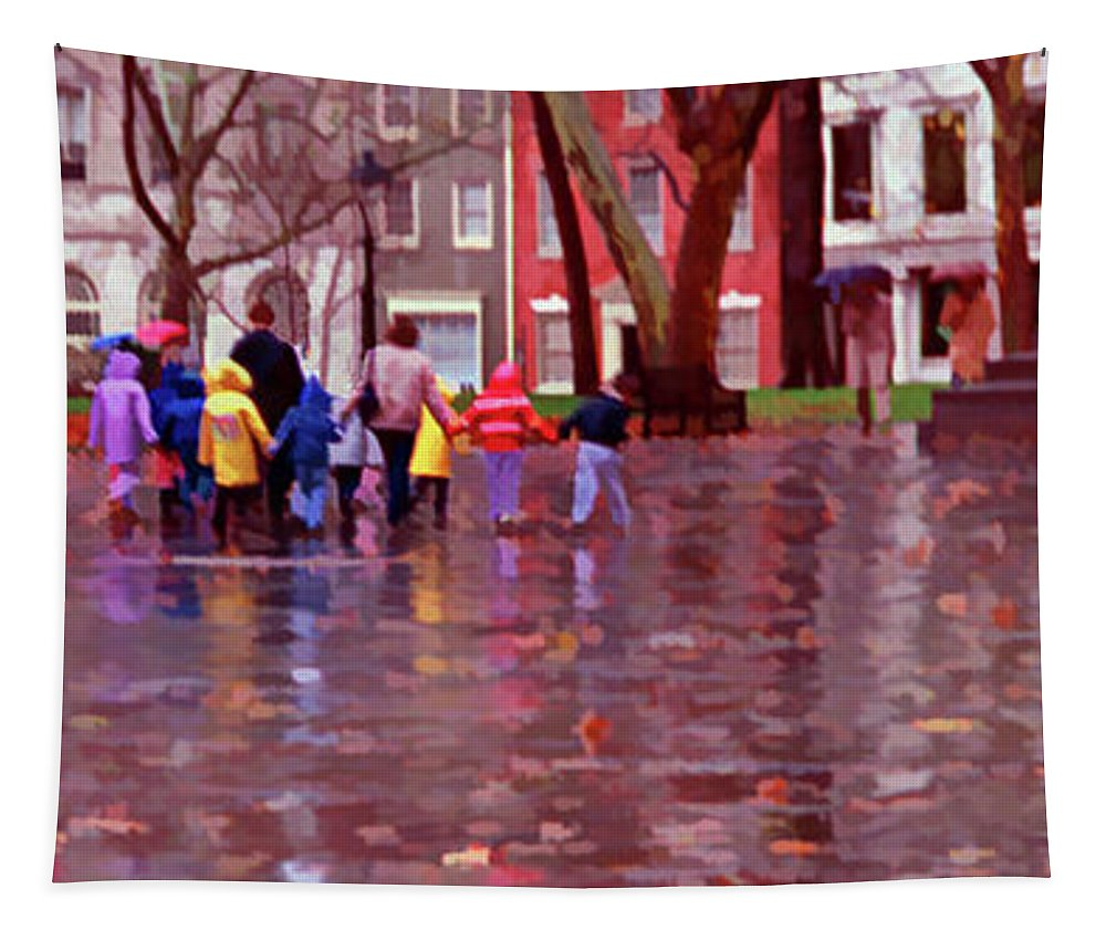 Children Tapestry featuring the photograph Rainy Day Rainbow - Children At Independence Square by Mitch Spence