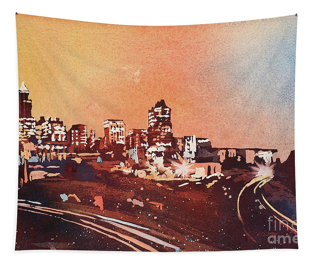 Art Prints Tapestry featuring the painting Raleigh Sunrise Iv by Ryan Fox