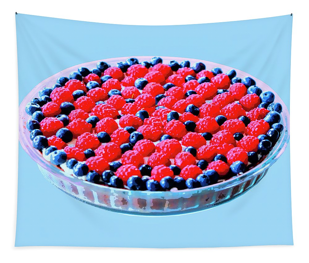 Tart Tapestry featuring the photograph Raspberry And Blueberry Tart by Dominic Piperata