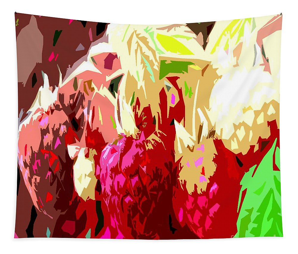Food Tapestry featuring the painting Raspberry Bush by Patrick J Murphy