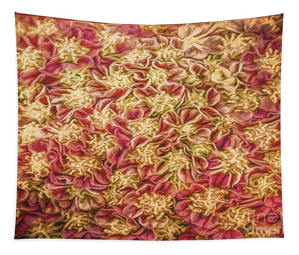 Macro Tapestry featuring the photograph Raspberry Circles by Jean OKeeffe Macro Abundance Art