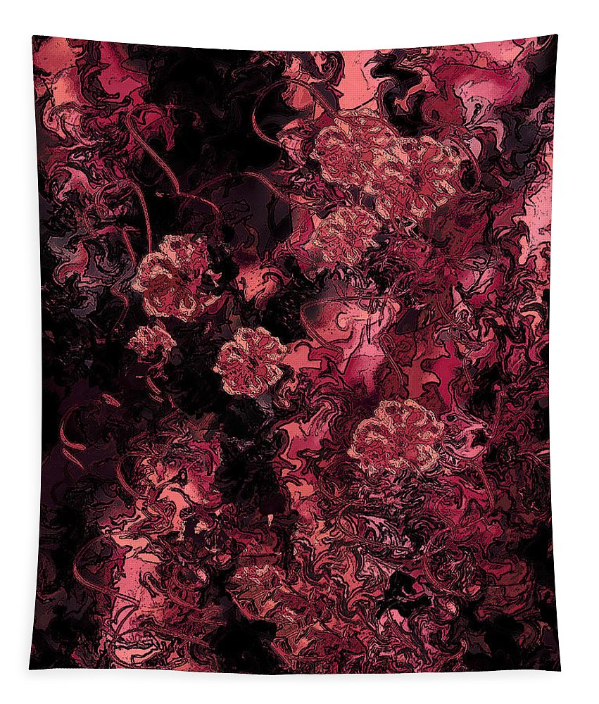 Abstract Tapestry featuring the digital art Ravaged Heart by Rachel Christine Nowicki