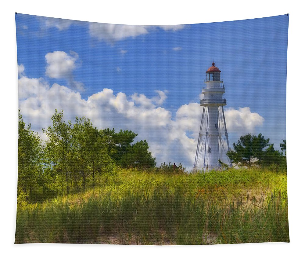 Beach Tapestry featuring the photograph Rawley Point Lighthouse by Joan Carroll