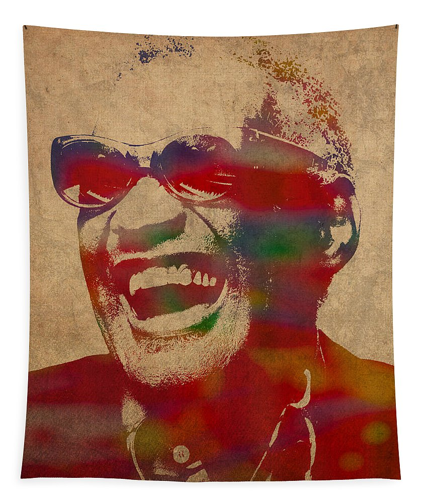 Ray Charles Tapestry featuring the mixed media Ray Charles Watercolor Portrait On Worn Distressed Canvas by Design Turnpike