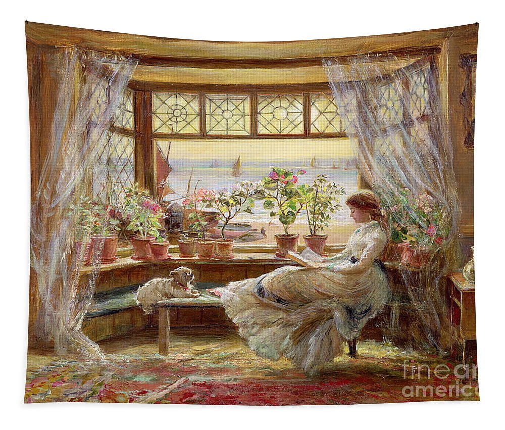 Dog Tapestry featuring the painting Reading By The Window by Charles James Lewis