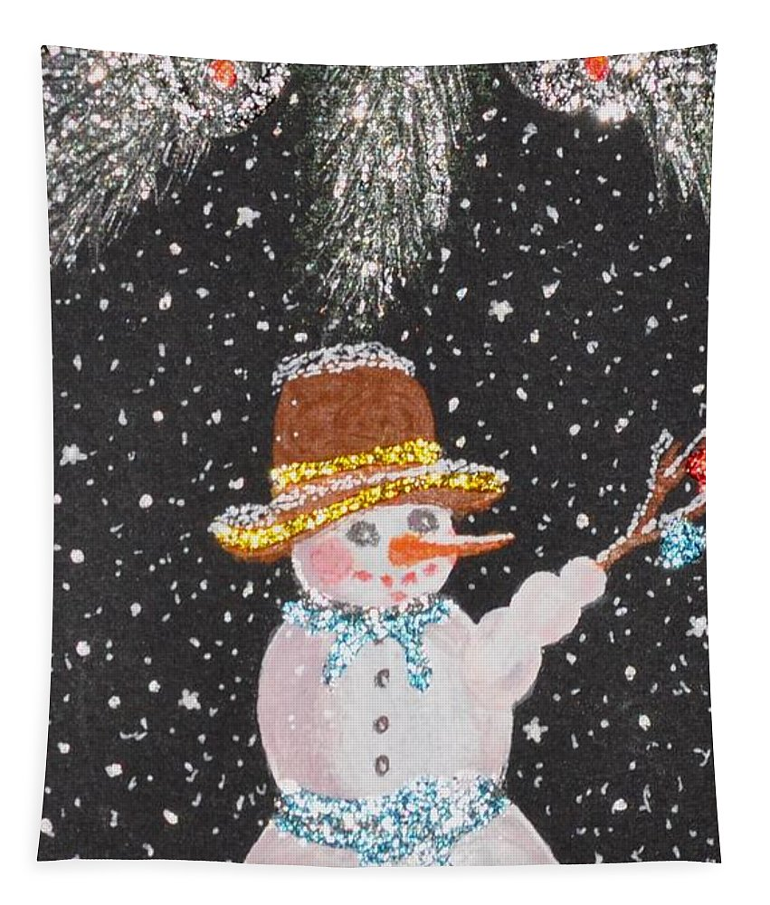 Snowman Tapestry featuring the mixed media Ready For Fun by Georgeta Blanaru